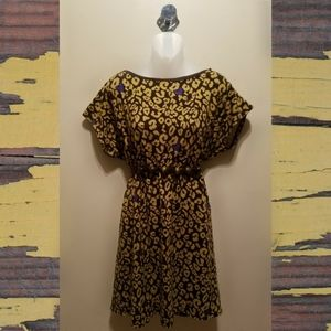 Anthropologie Hazel Leopard Print Midi Dress